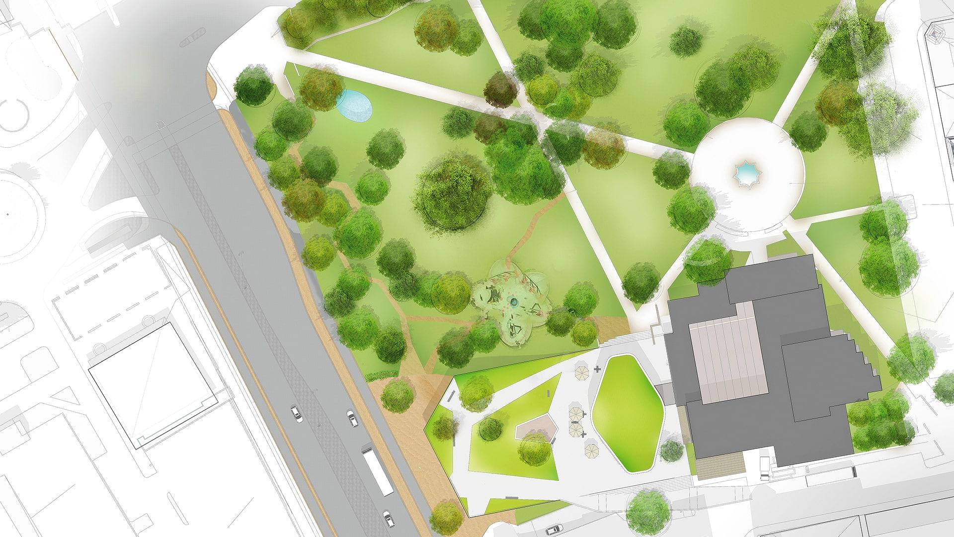 Skiss som visar stadsparken uppifrån och där området för en planerad utbyggnad är markerad